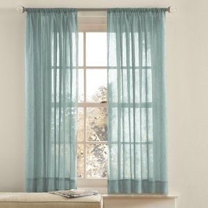 Mainstay sheer seaglass green window curtain panel